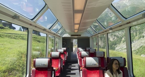 Interior of Glacier Express train
