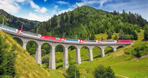 The Glacier Express crosses the beautiful Landwasser Viaduct