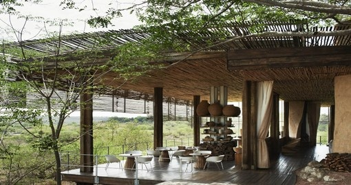 See spectacular views at the Singita Lebombo Lodge during your South Africa tour.