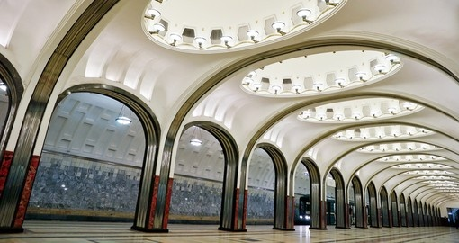 Mayakovskaya Metro station is one of the most beautiful