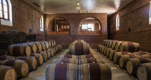 Vina la Playa's impressive barrel room