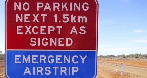 Emergency Airstrip Sign in the outback