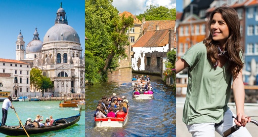 different split images of sightseeing people and activities
