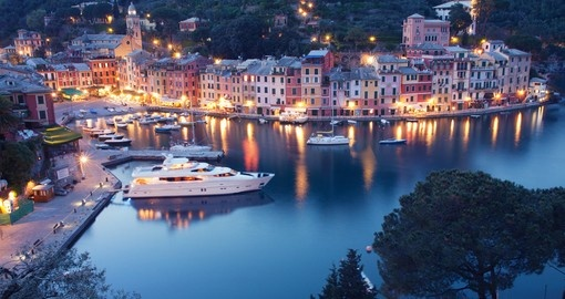 Colorful Portofino fishing village at dusk in Liguria, Italy