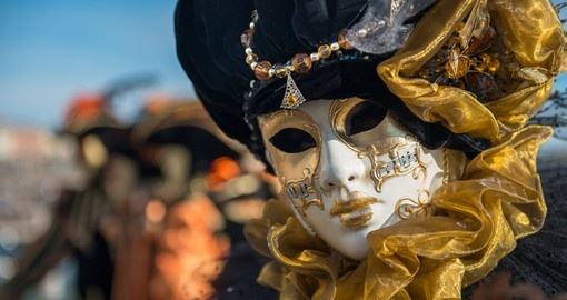 Golden venetian carnival mask