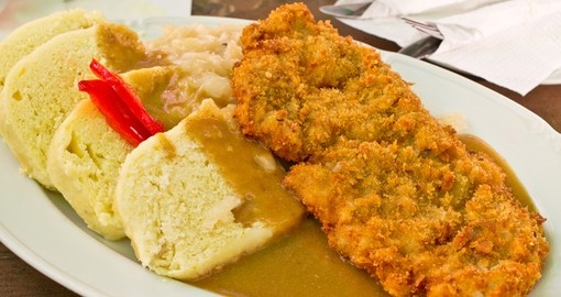 Traditional Czech breaded pork with dumpling