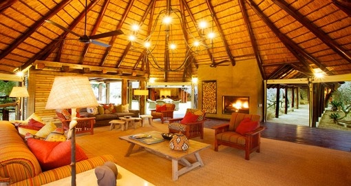 The lounge area at Kapama Buffalo Camp in South Africa