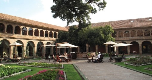 The courtyard of a deluxe Cusco hotel