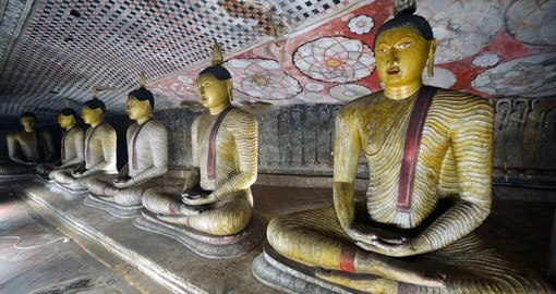 Walk into the Cave temple in Dambulla and expect to be greeted by meditating Buddha statues while Visiting Sri Lanka