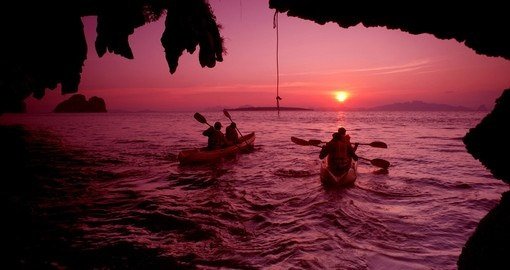 Activites in Krabi include kayaking, sailing and snorkeling
