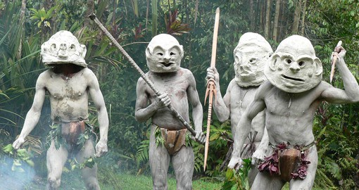 The Asaro Mudman are resident in the highland jungles