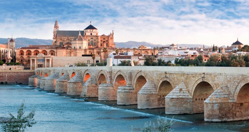 Roman Bridge and  the Great Mosque in Cordoba