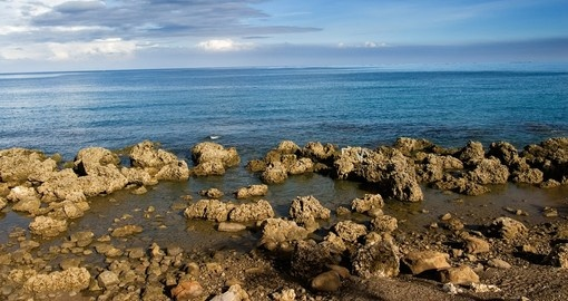 Coral reef rock coastline