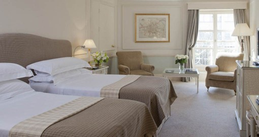 Guest rooms suites are light and airy and are decorated in colours and fabrics inspired by Paul Henry's Irish landscape paintings