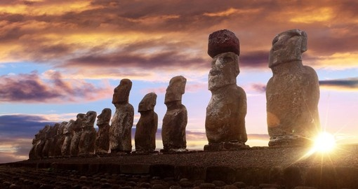 Enjoy the sunset over Moai's on your Chile Vacation
