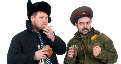 Russian Soldiers Drinking Vodka