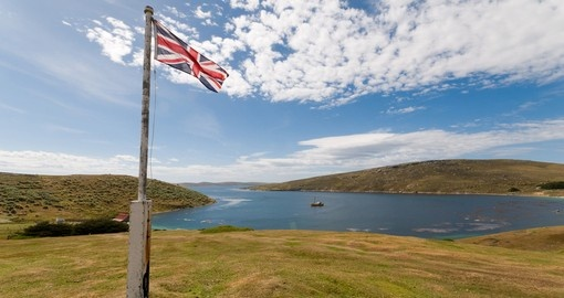 The Union Flag flies over the Falkland Islands