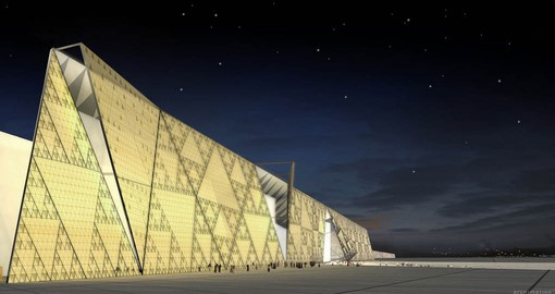 Artist's rendering of the Grand Egyptian Museum being build in the shadow of the Great Pyramids