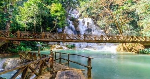 You will see Kuang Si Waterfall with blue minerals water in Luang Prabang Province during your Laos vacation