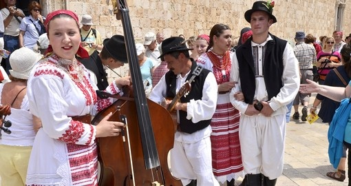 A folk music group in traditional clothing
