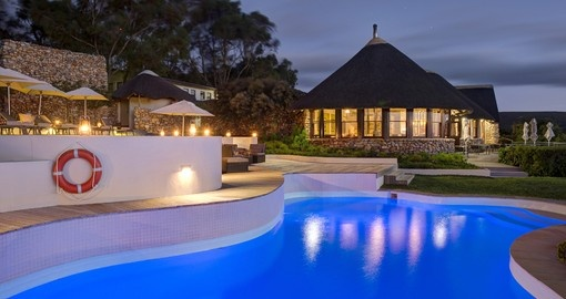Grootbos Garden Lodge at nighttime