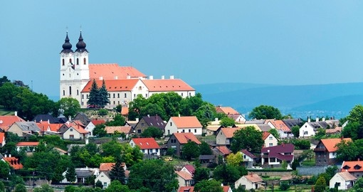 View to the Benedictine Abbey in Tihany