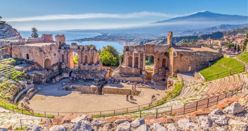 Dating from 700 BC the ancient Greek Theater in Taormina is a reminder of the Roman Empire