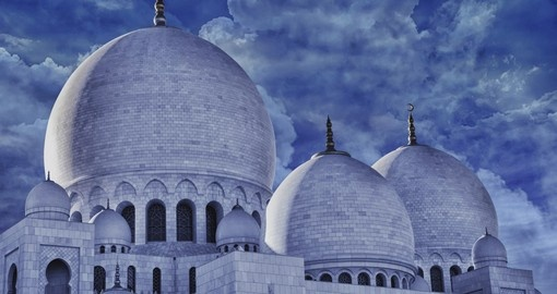 The domes of world famous Sultan Sheikh Zayed mosque