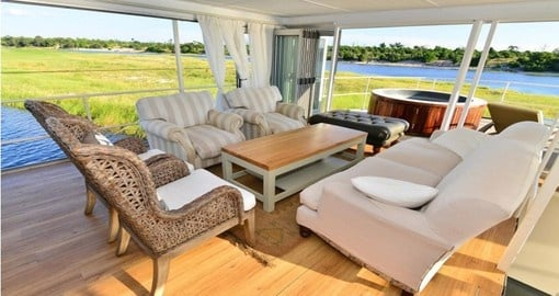 Experience all the amenities of the Chobe Princess during your next Botswana vacations.
