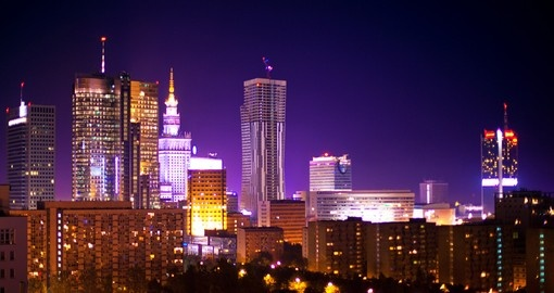Warsaw at night, always a great photo opportunity while on your Poland vacation.