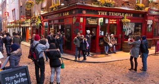 Temple Bar District is one of the most popular spots to visit in Dublin on all Ireland vacations.