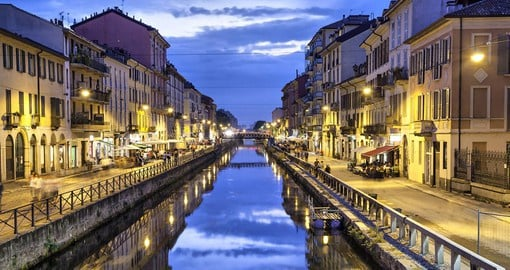 Naviglio Grande Canal in the evening, Milan