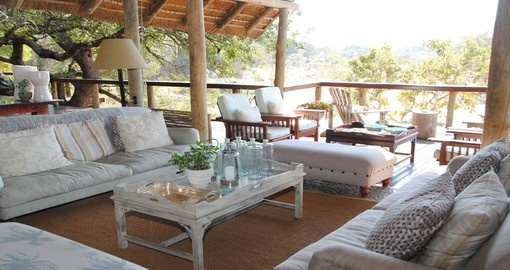 Relax in the lounge at Thornybush Game Lodge during your South Africa vacation.