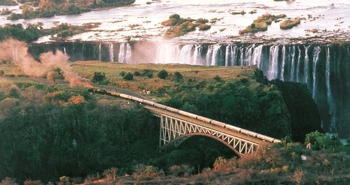 Rovos crossing the bridge at the mighty Victoria Falls