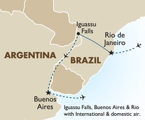 Iguassu Falls, Buenos Aires & Rio with International & domestic air.