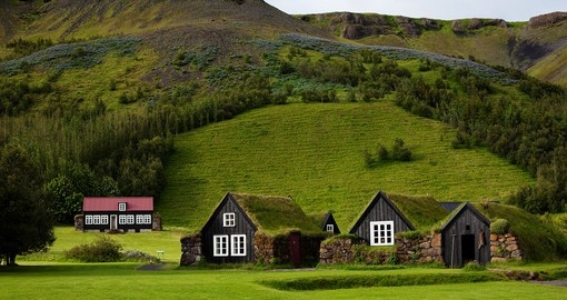 Traditional Icelandic houses with grass roof