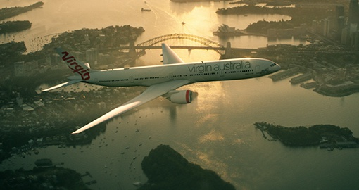 Virgin Australia flying over Sydney