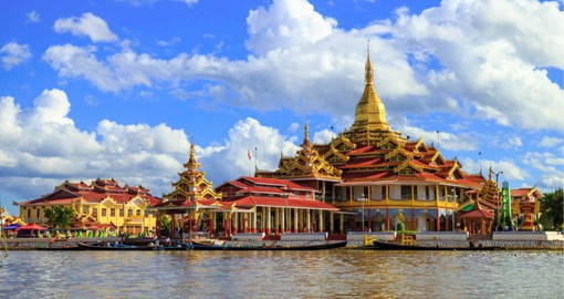 Freshwater Inle Lake is fringed by Buddhist temples