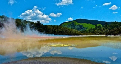 View over geothermal area in Rotorua