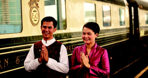 The friendly staff of the Eastern & Oriental Express