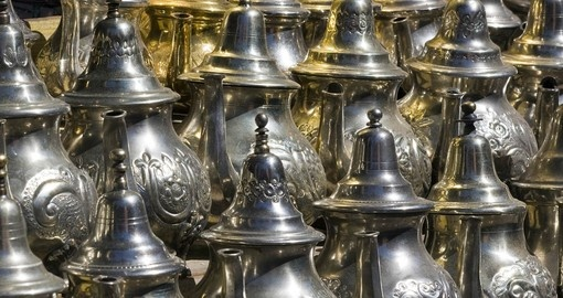 Traditional silver teapots make for an interesting photo opportunity on Morocco vacations.