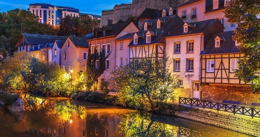 Luxembourg City in the evening is a great photo opportunity while on your Luxembourg vacation.
