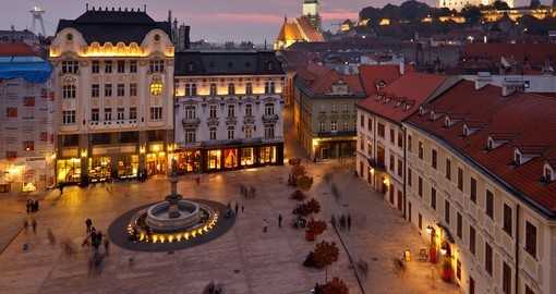 Main Square with Rolland's Fountain is always a popular visiting spot on all Slovakia vacations.