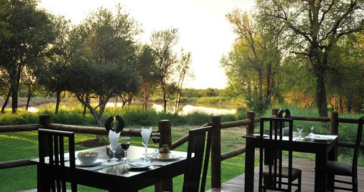 Kick back on the patio after an exciting game drive on yoru South Africa Safari