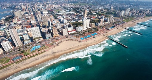 Enjoy beautiful aerial view of the Durban coastline on your next trip to South Africa