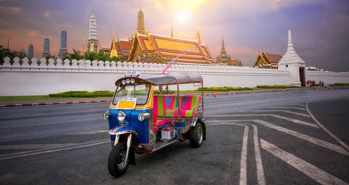 Experience Tuk-tuk sightseeing around the Grand Palace in Bangkok as part of your Thailand Vacation.
