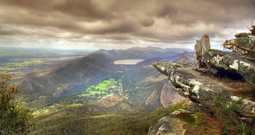 A majestic mountain range and forest, The Grampians rise out of flat farmland in Victoria's west