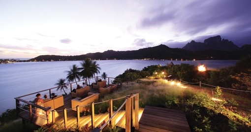 Enjoy the private beach lounge at the Sofitel Bora Bora Beach Resort during your Trip to Bora Bora.
