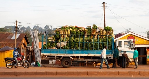 A truck of bananas near Kampala