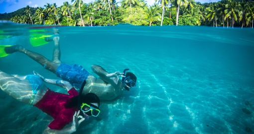 Snorkelling in clear blue waters